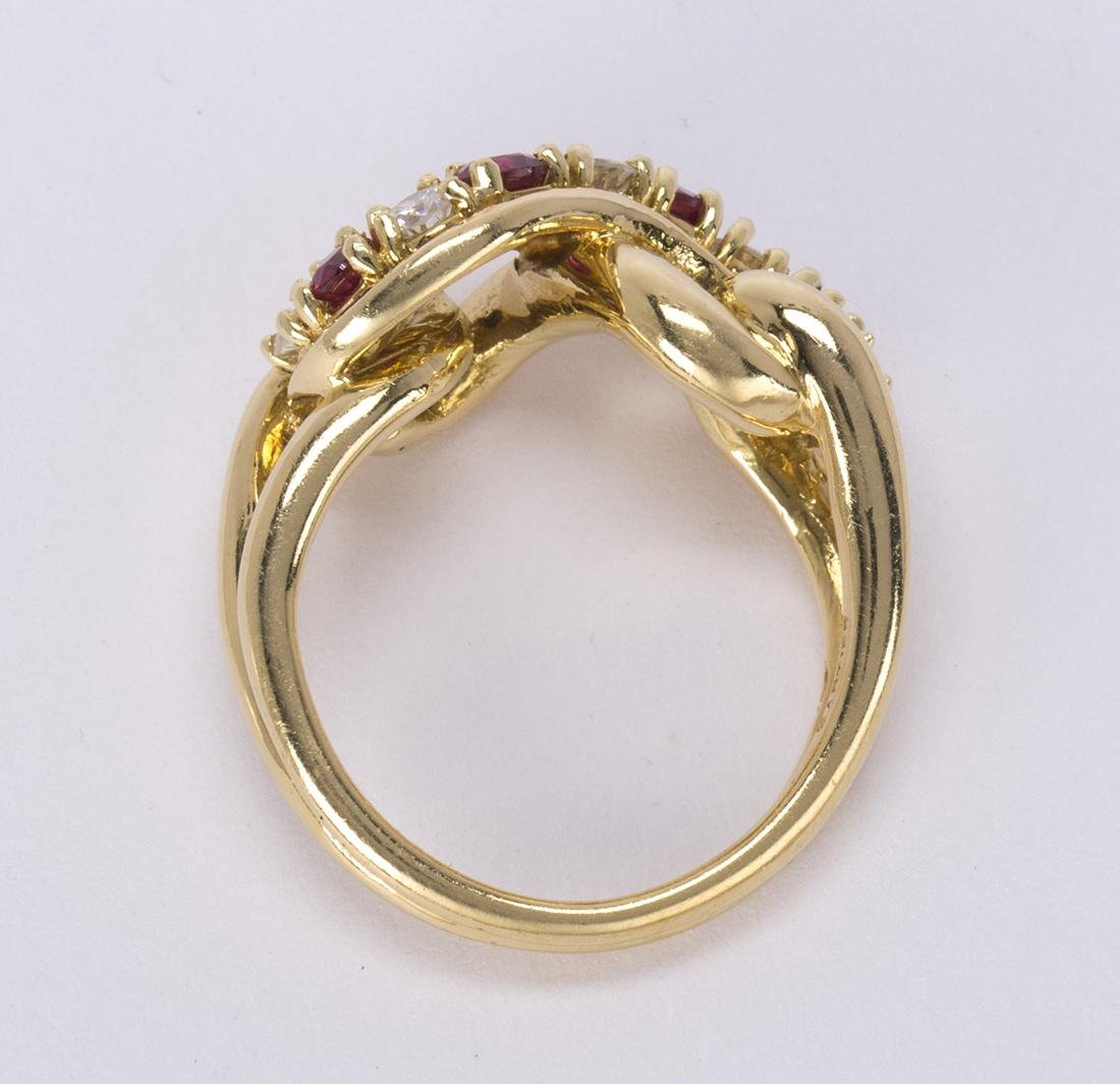 Cartier ruby, diamond and 18k yellow gold ring - 4