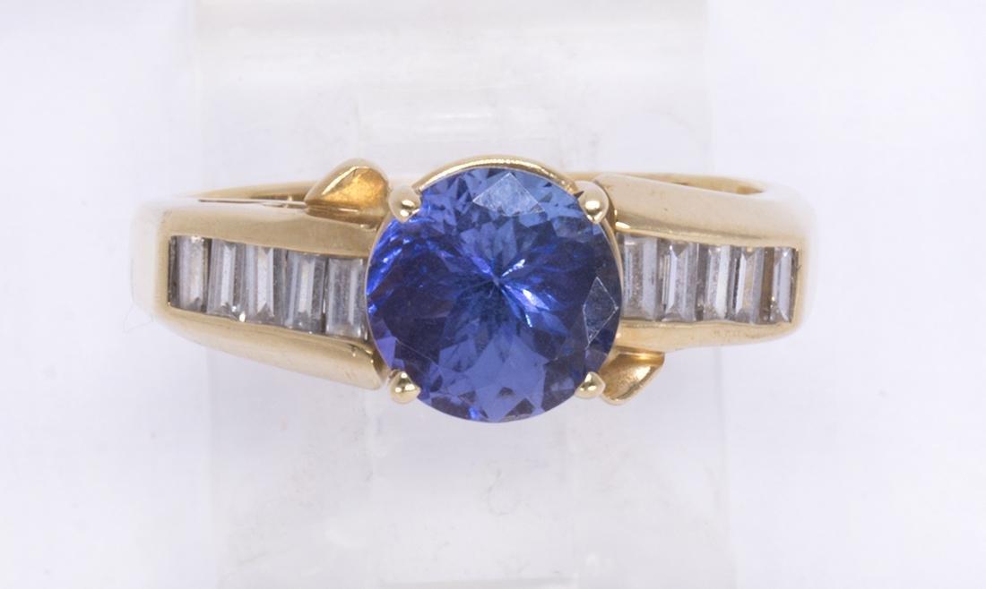 Tanzanite, diamond and 14k yellow gold ring