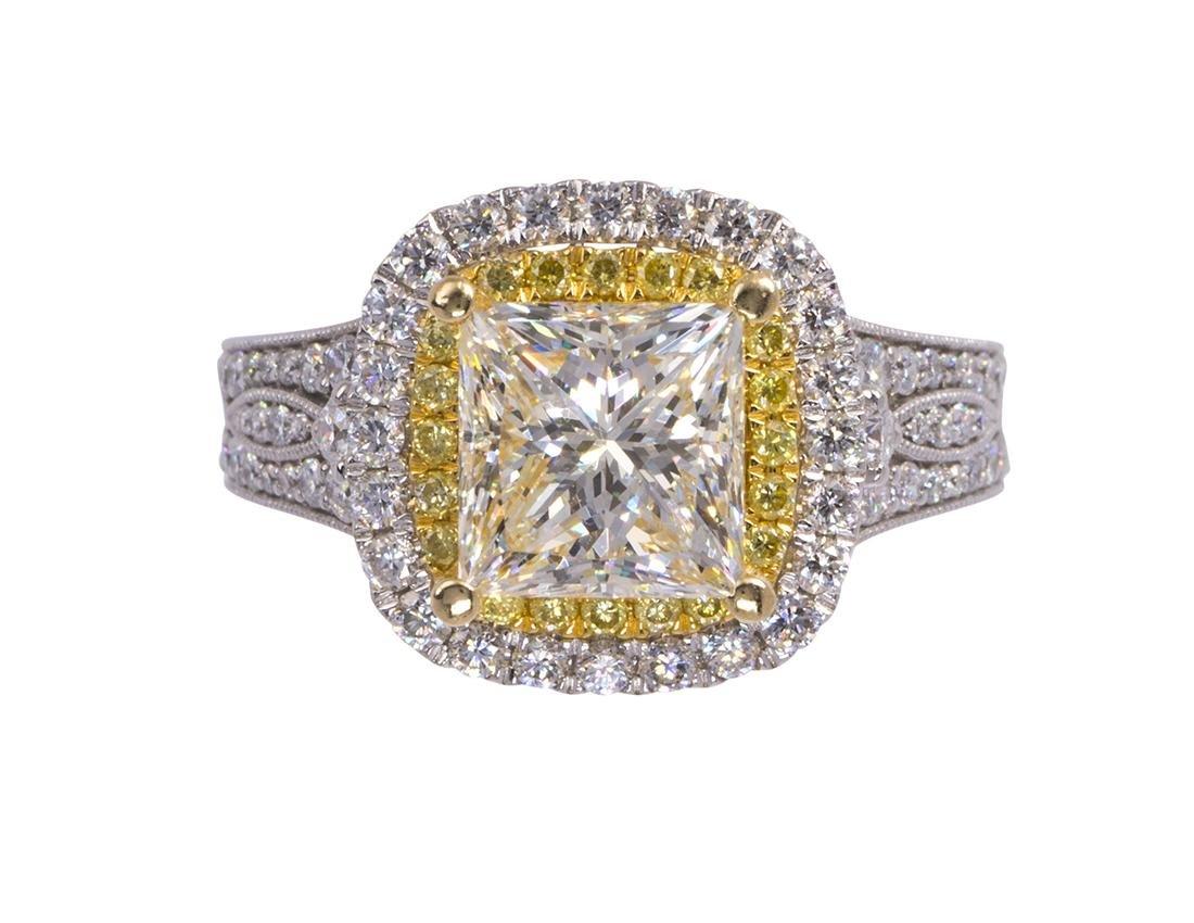 Diamond and 18k white gold ring
