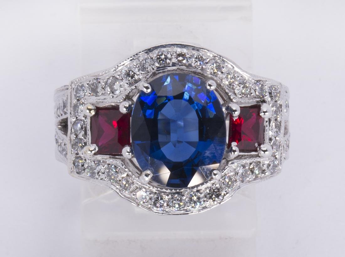 Sapphire, ruby, diamond and 14k white gold ring