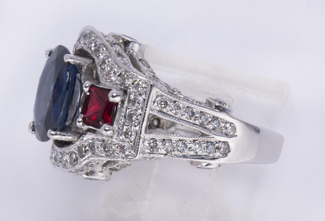 Sapphire, ruby, diamond and 14k white gold ring - 2