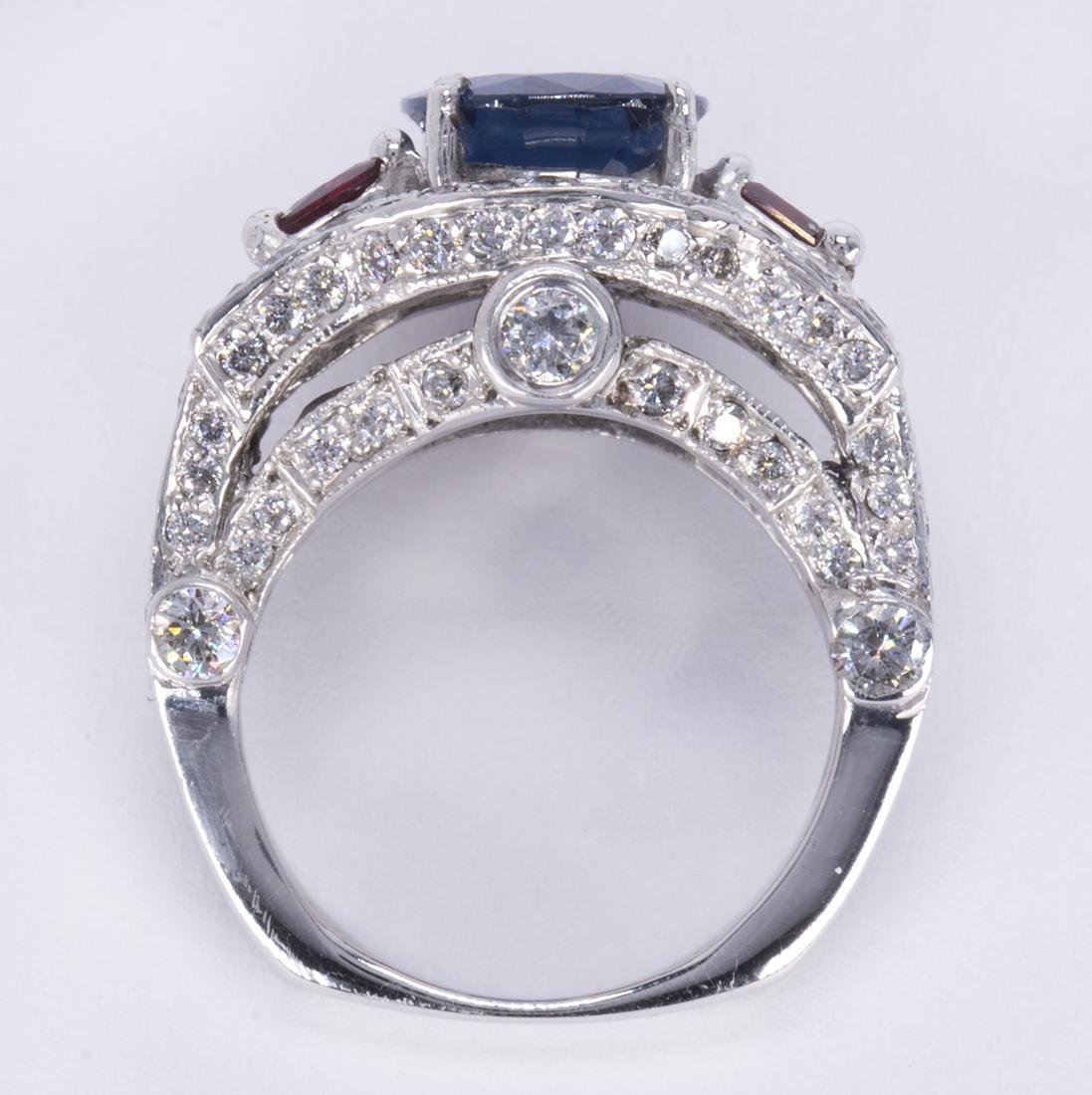 Sapphire, ruby, diamond and 14k white gold ring - 3
