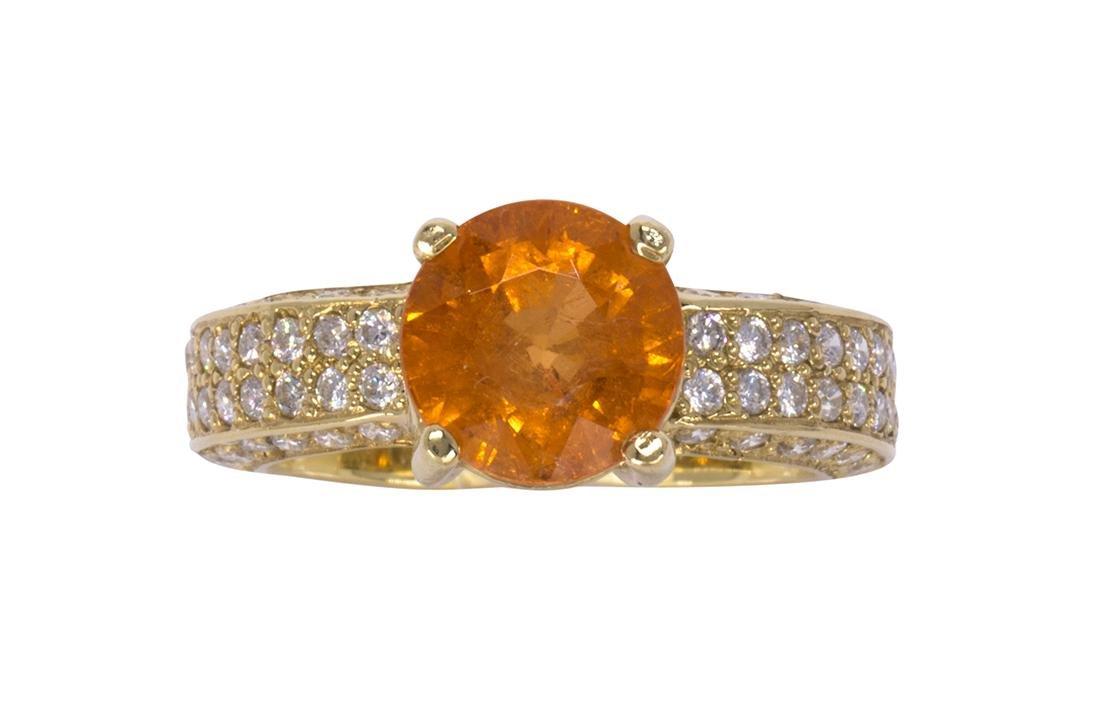 Garnet, diamond and 18k yellow gold ring