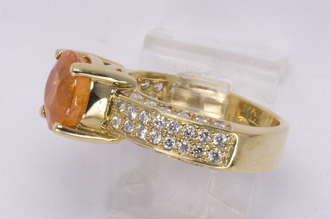 Garnet, diamond and 18k yellow gold ring - 2