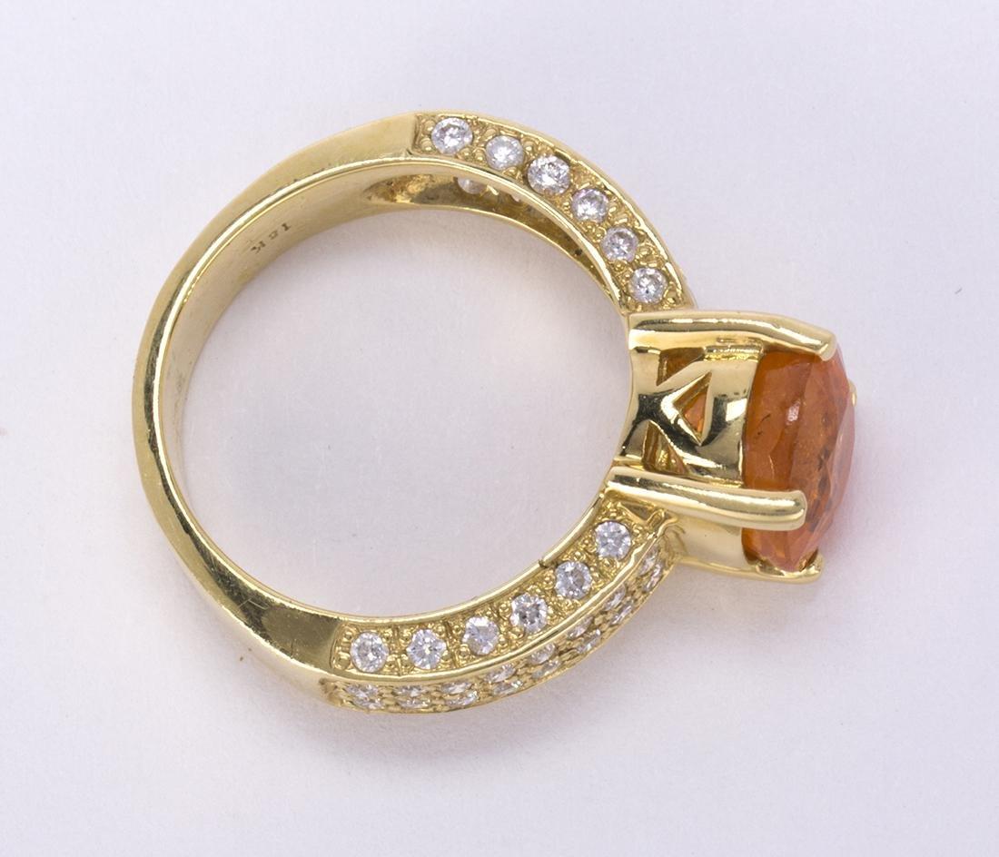 Garnet, diamond and 18k yellow gold ring - 3