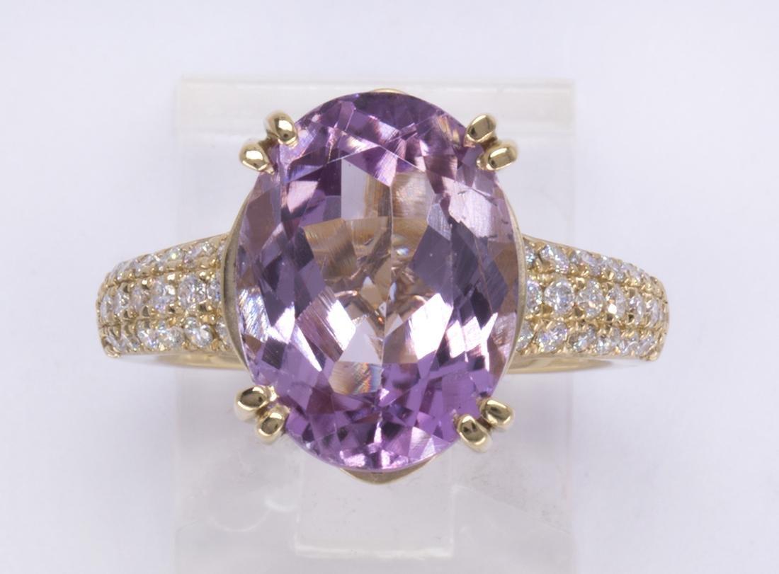 Kunzite, diamond and 14k yellow gold ring