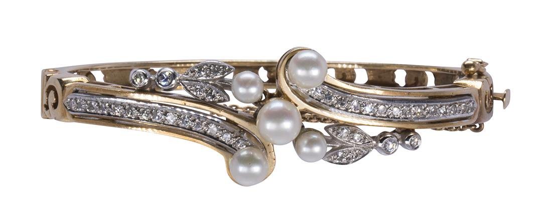 Cultured pearl, diamond and 14k gold bracelet