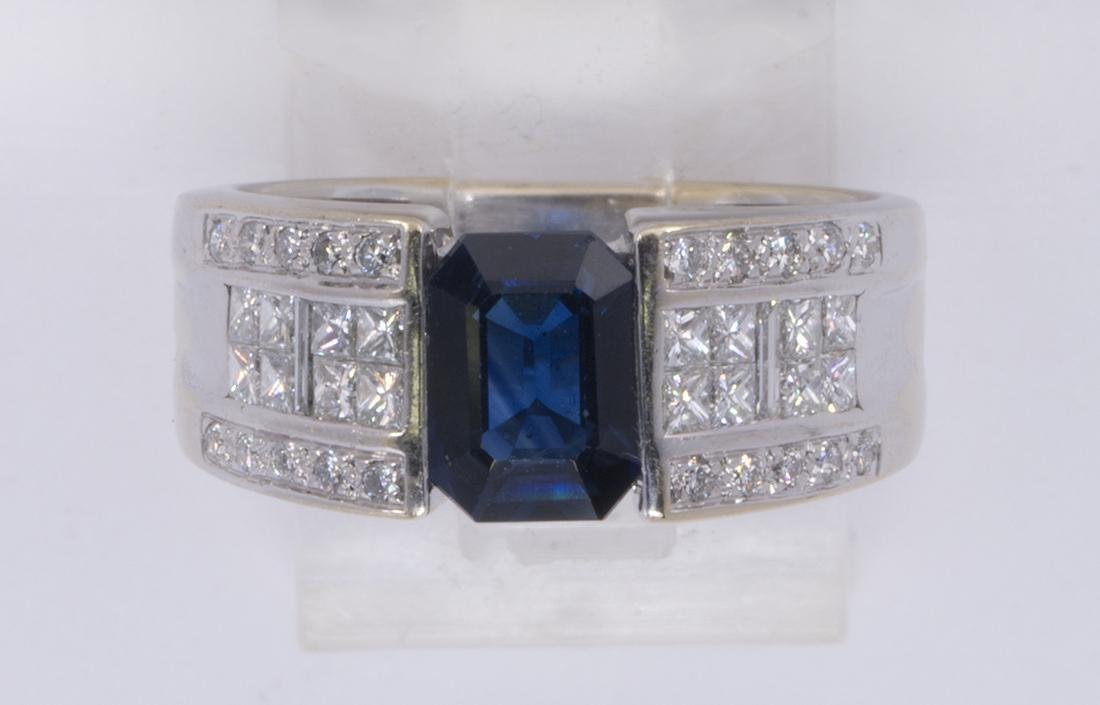 Sapphire, diamond and 18k white gold ring