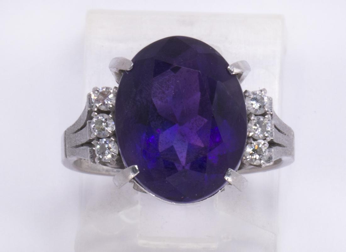 Amethyst, diamond and platinum ring