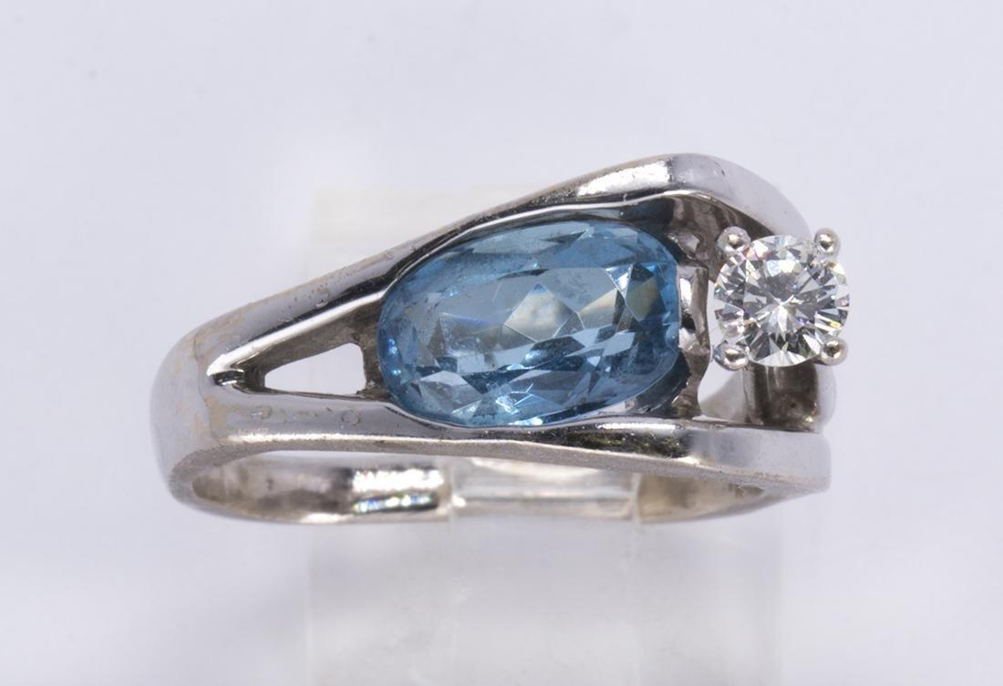 Aquamarine, diamond and 14k white gold ring