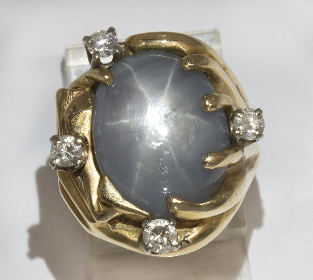 Star sapphire, diamond and 14k yellow gold ring
