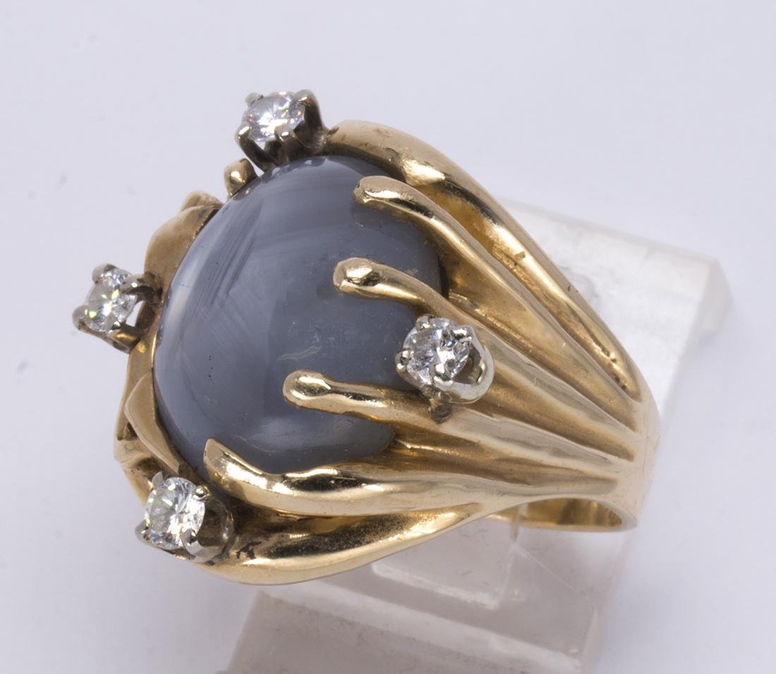 Star sapphire, diamond and 14k yellow gold ring - 2