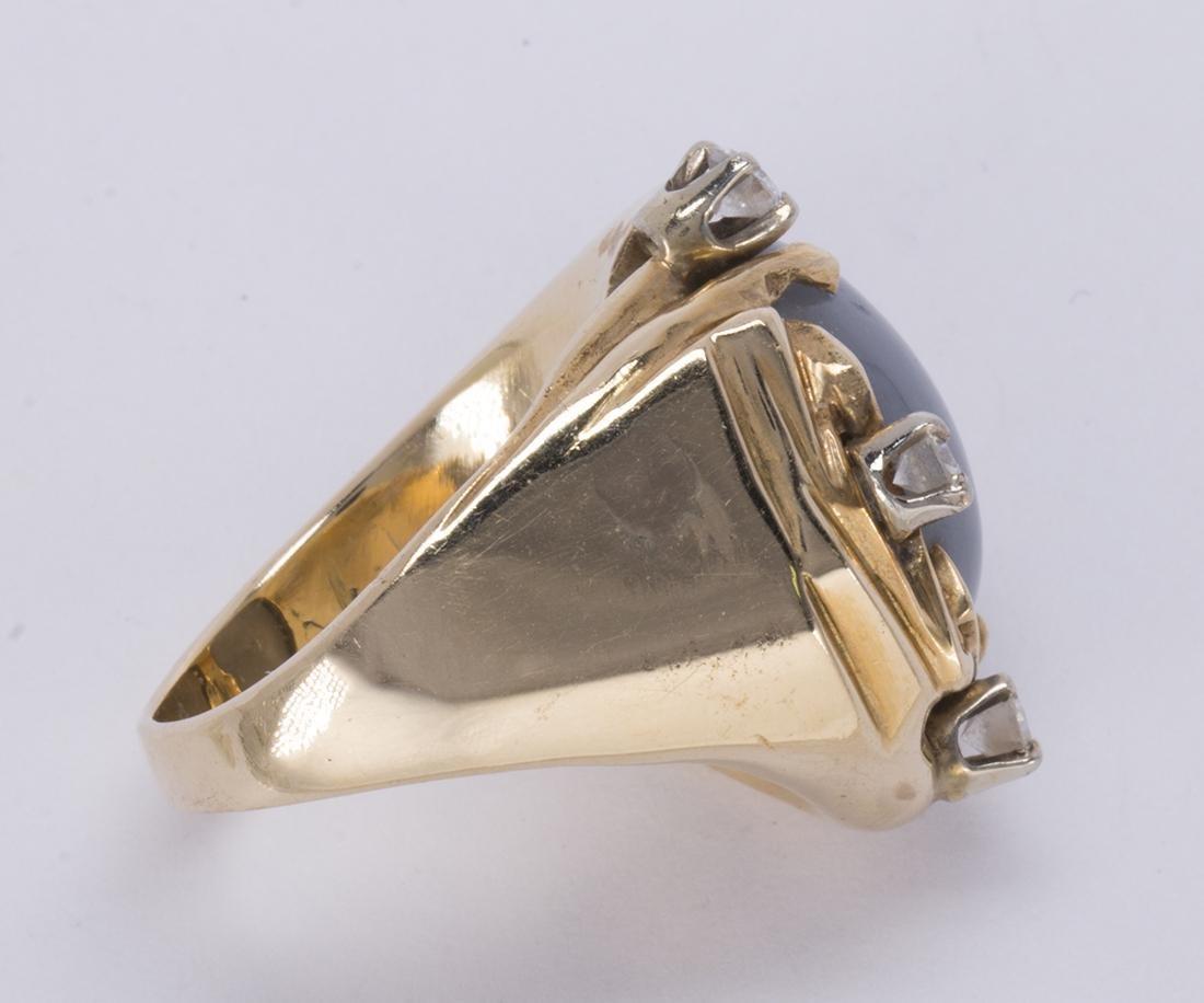 Star sapphire, diamond and 14k yellow gold ring - 3