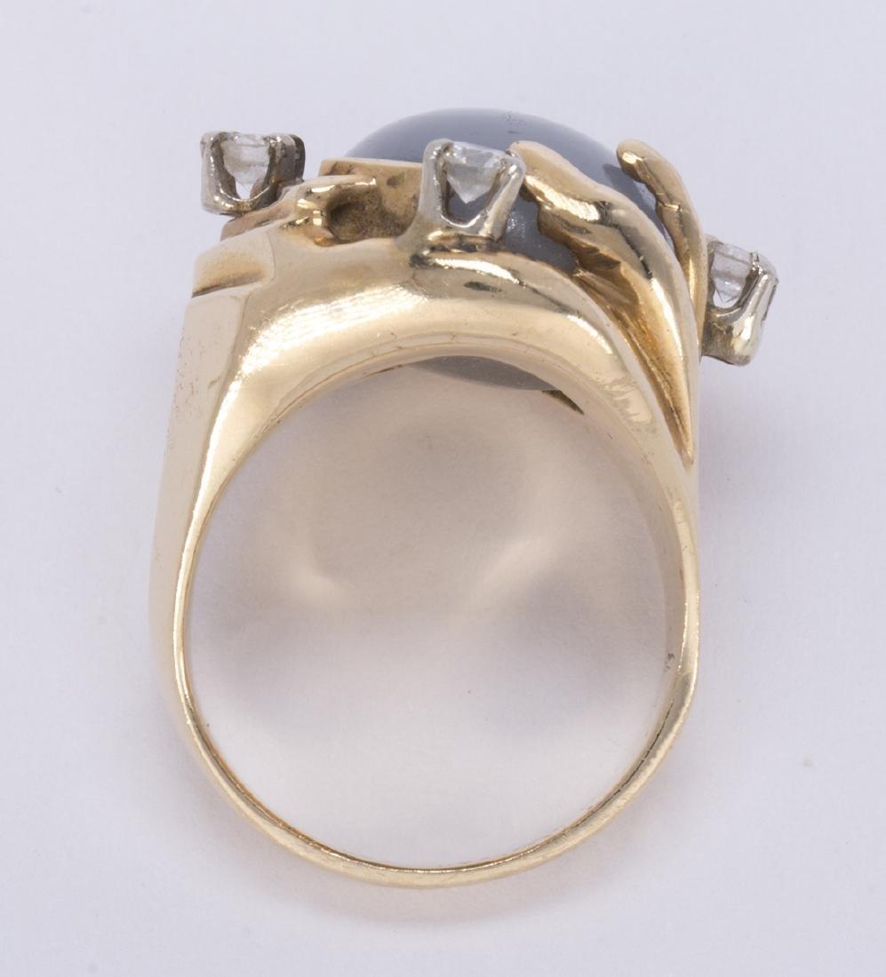 Star sapphire, diamond and 14k yellow gold ring - 4