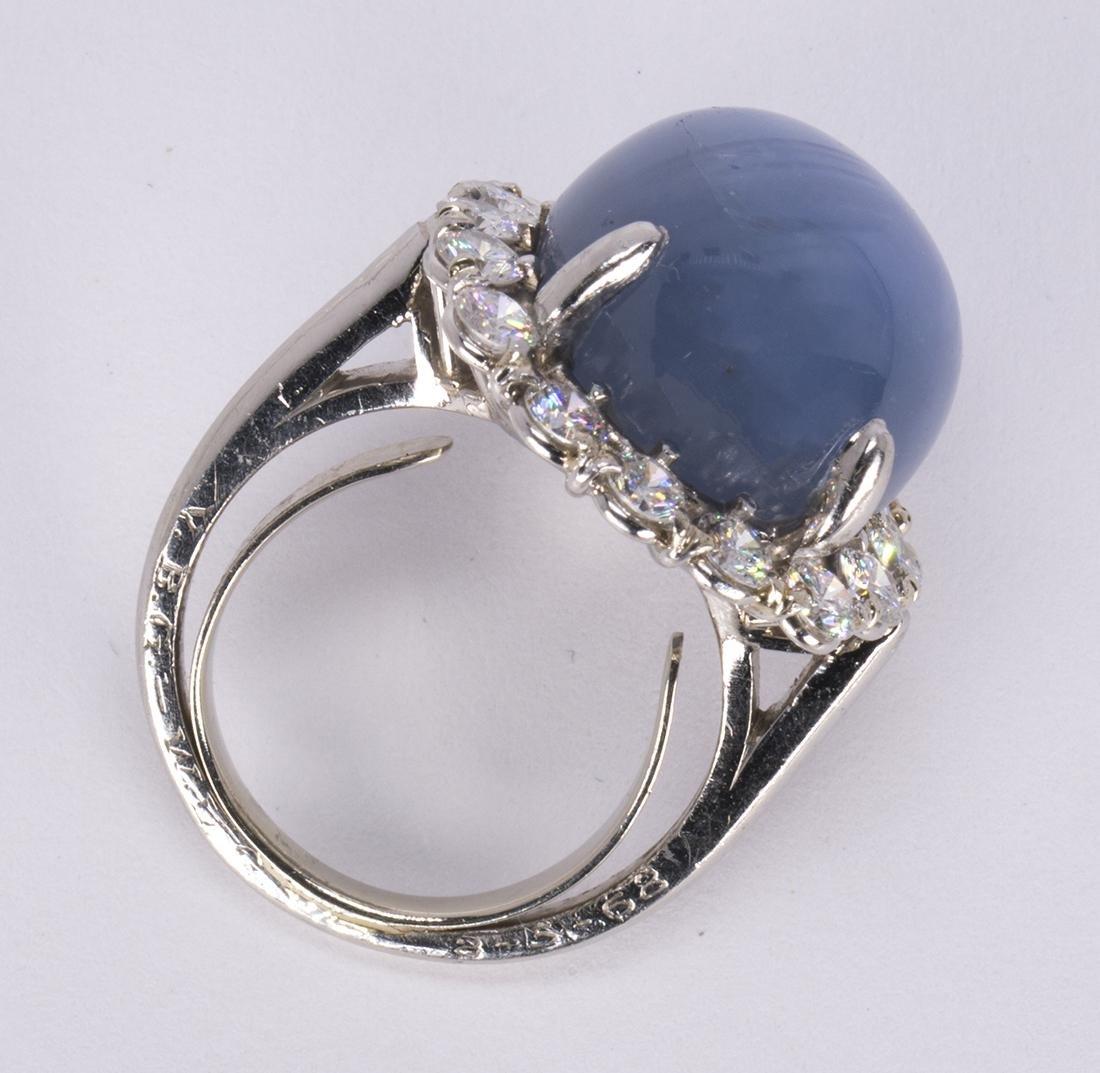 Star sapphire, diamond and platinum ring - 3