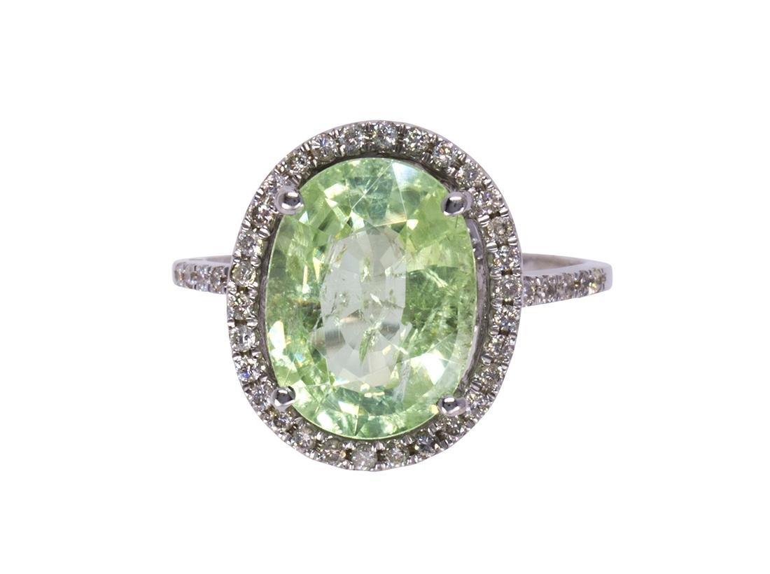 Tourmaline, diamond and 14k white gold ring