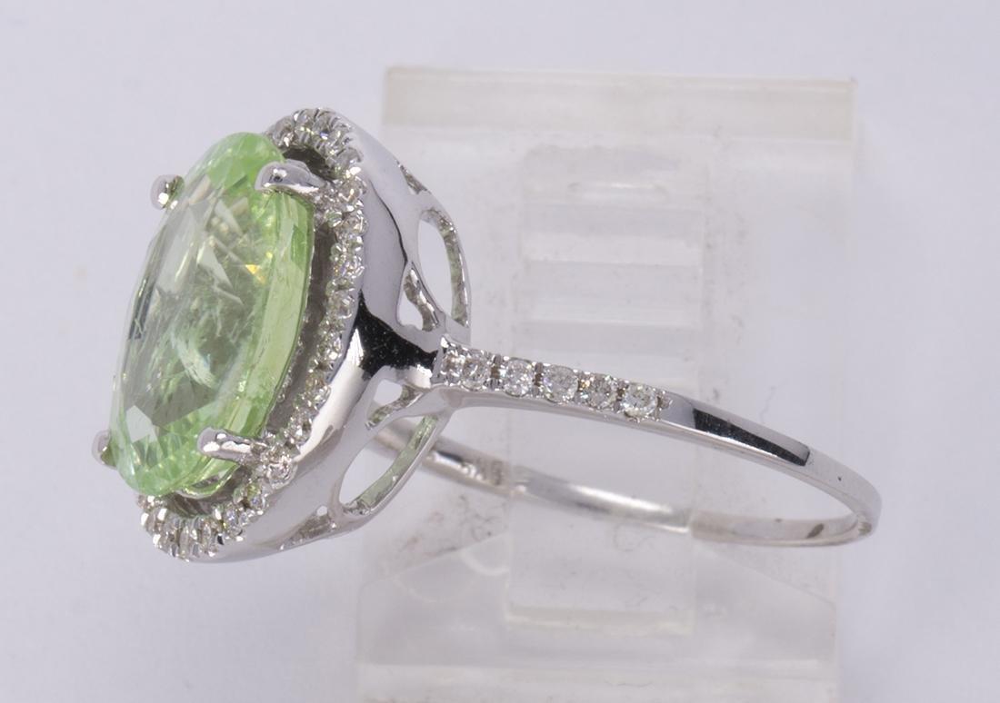 Tourmaline, diamond and 14k white gold ring - 2