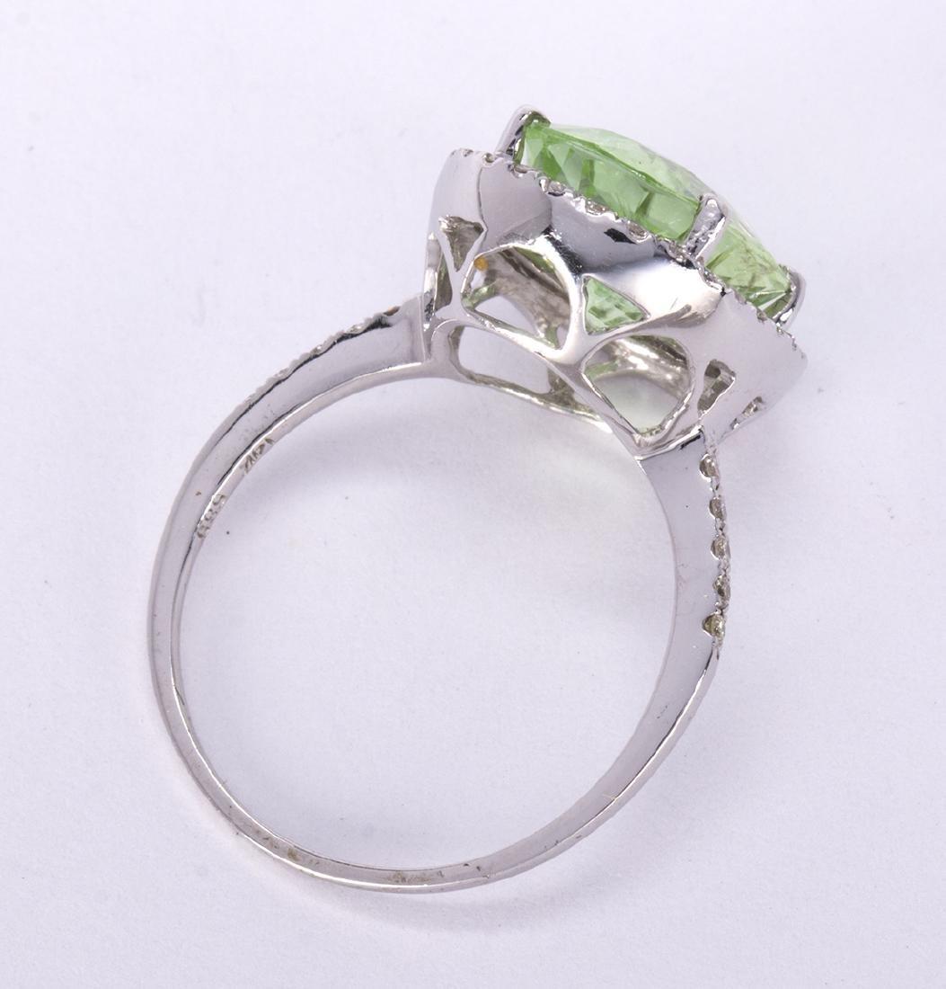 Tourmaline, diamond and 14k white gold ring - 3