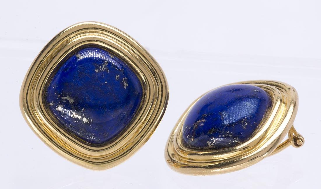 Pair of lapis lazuli and 18k yellow gold earrings