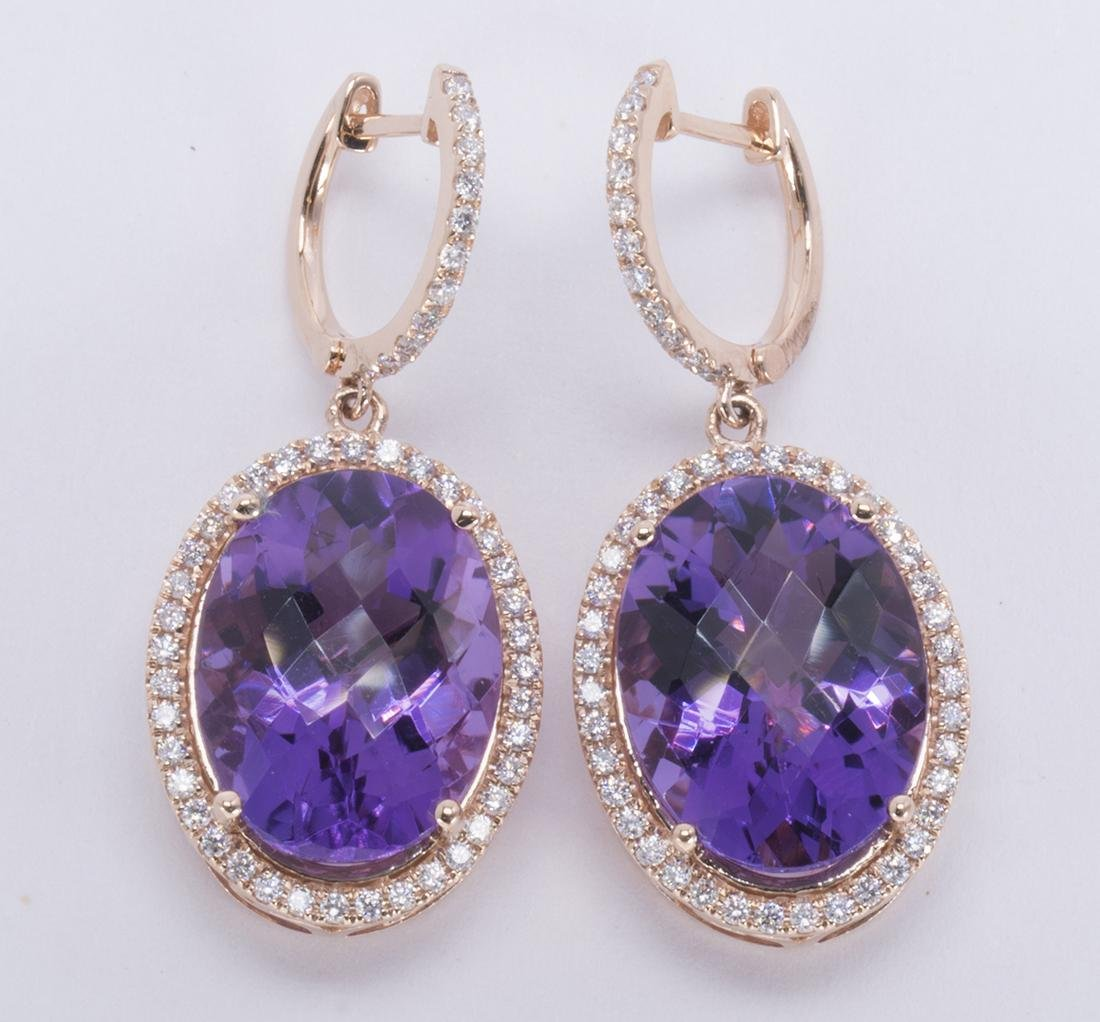 Pair of amethyst, diamond, and 14k rose gold