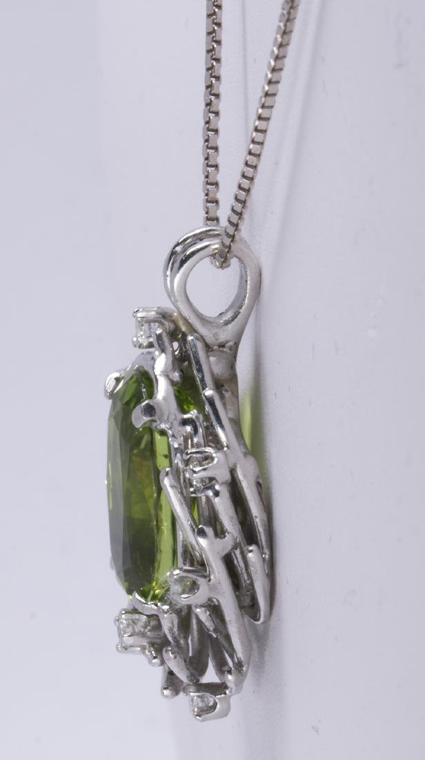 Peridot, diamond and 14k white gold pendant-necklace - 2