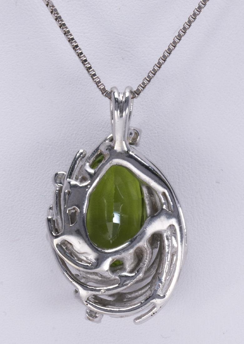 Peridot, diamond and 14k white gold pendant-necklace - 3