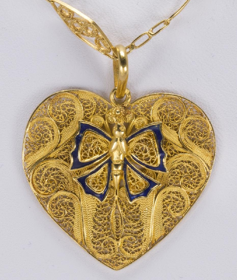 Enamel and 22k yellow gold pendant-necklace