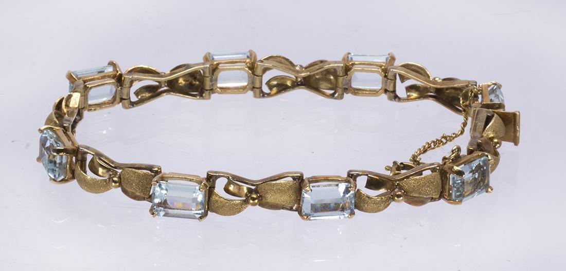 Aquamarine and 14k yellow gold bracelet - 2