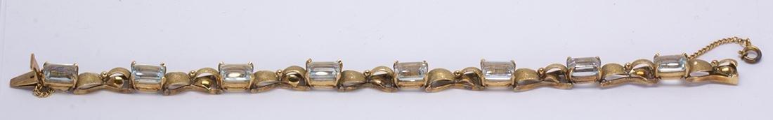 Aquamarine and 14k yellow gold bracelet - 3