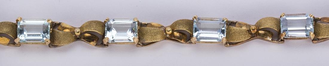 Aquamarine and 14k yellow gold bracelet - 4