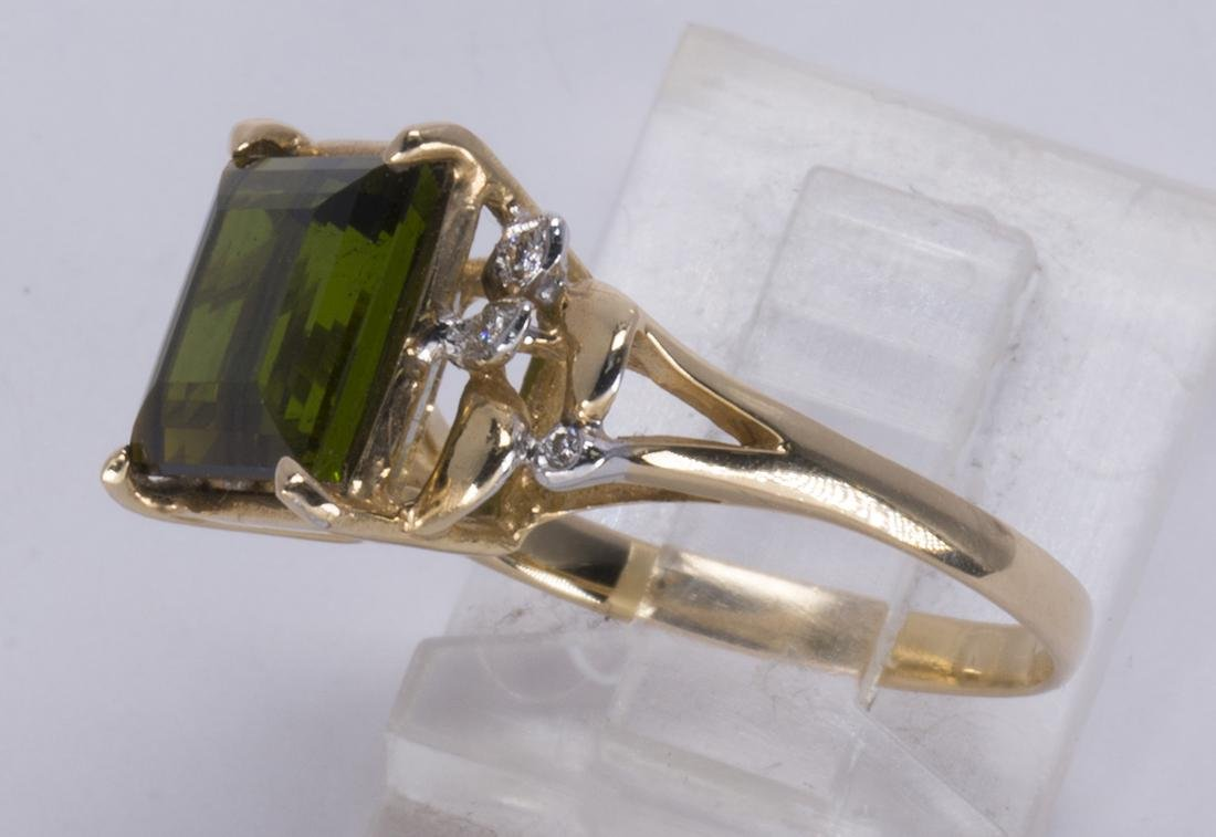 Tourmaline, diamond and 14k yellow gold ring - 2