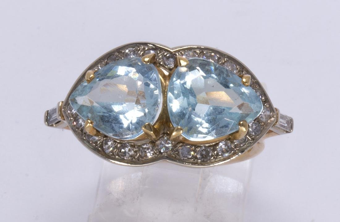 Aquamarine, diamond and 14k yellow gold ring