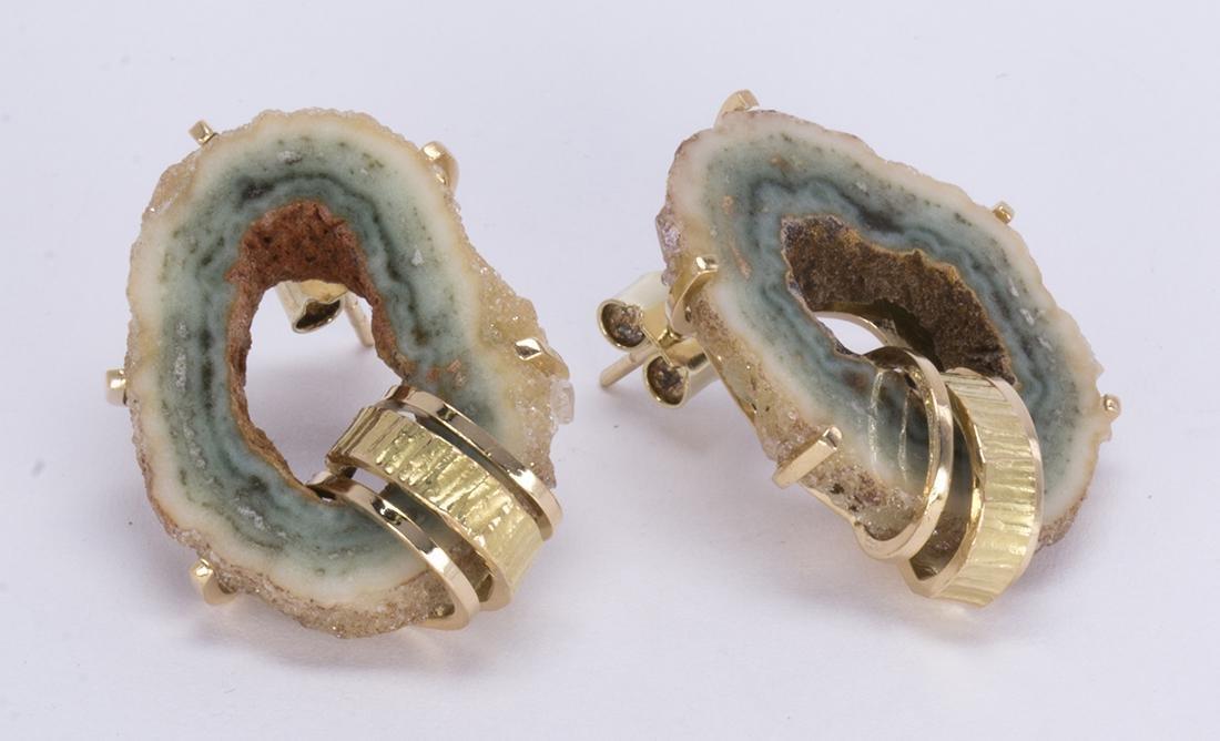 Pair of geode, 14k yellow gold earrings