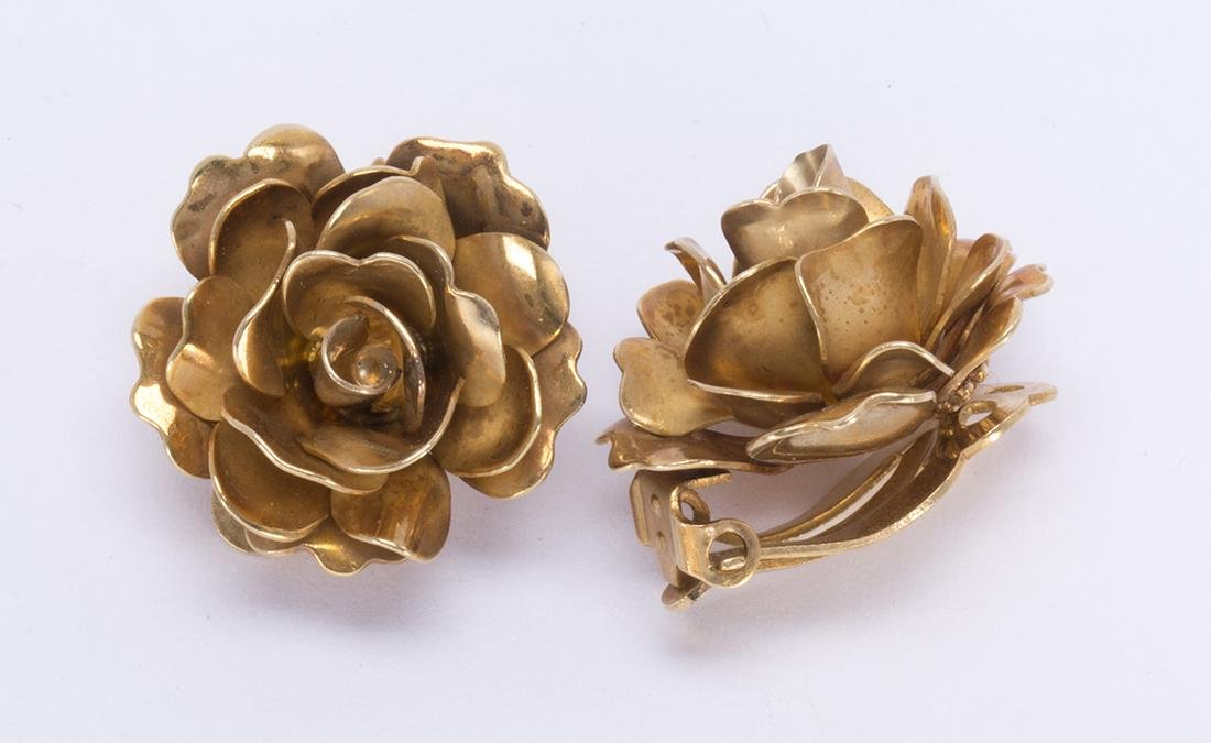Pair of 14k yellow gold rose earrings