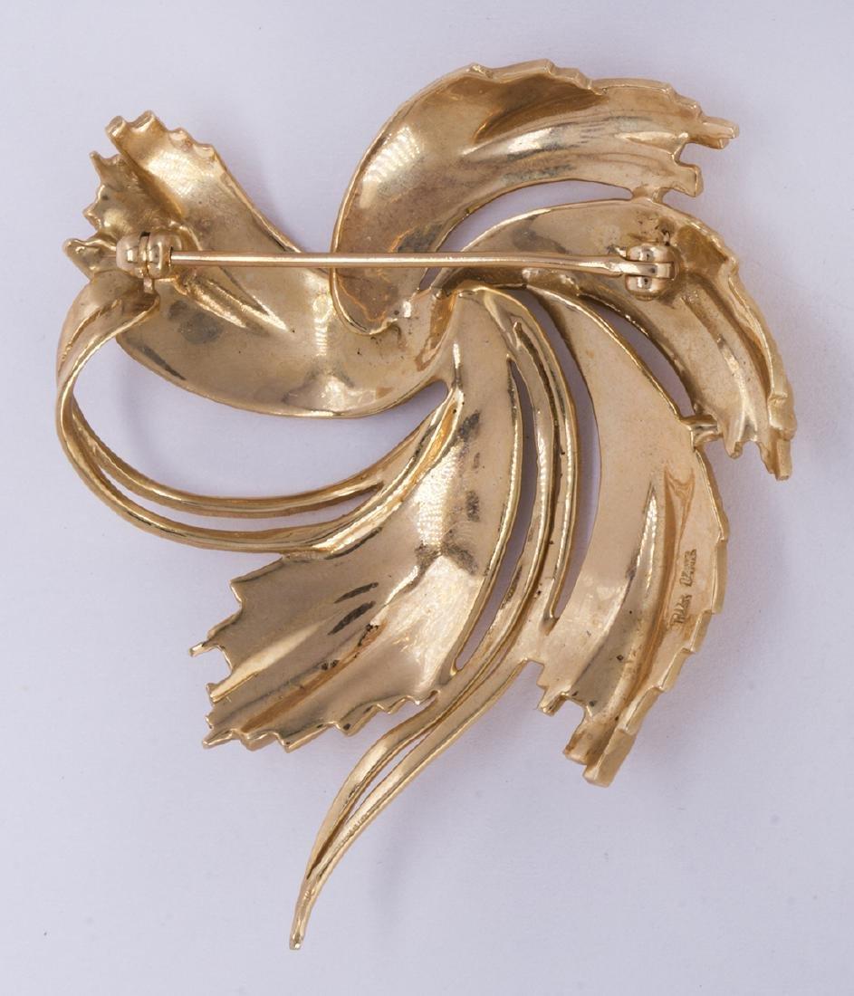 14k yellow gold swirl brooch - 2