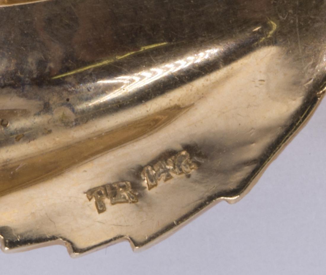 14k yellow gold swirl brooch - 3