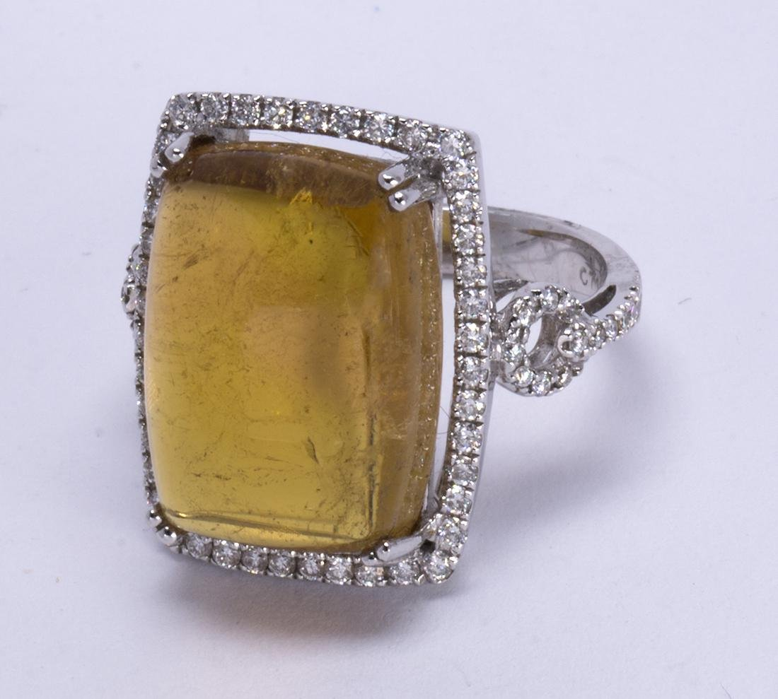 Tourmaline, diamond and 18k white gold ring