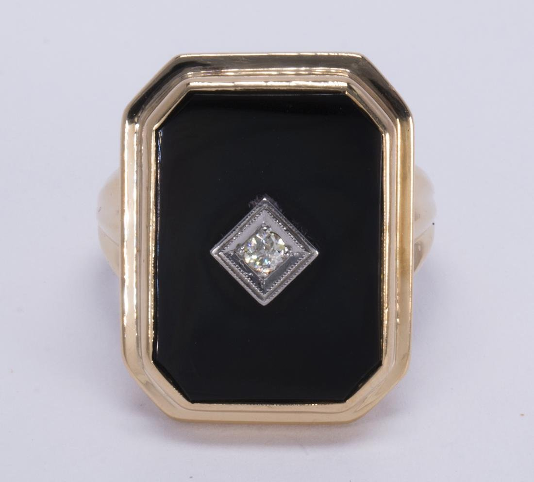 Diamond, black onyx and 14k yellow gold ring - 2