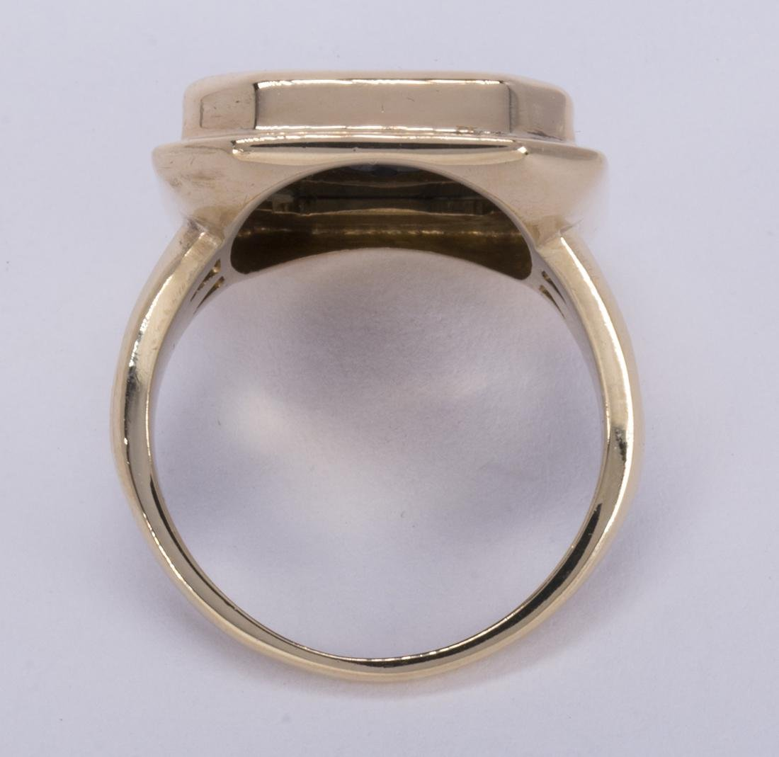 Diamond, black onyx and 14k yellow gold ring - 3