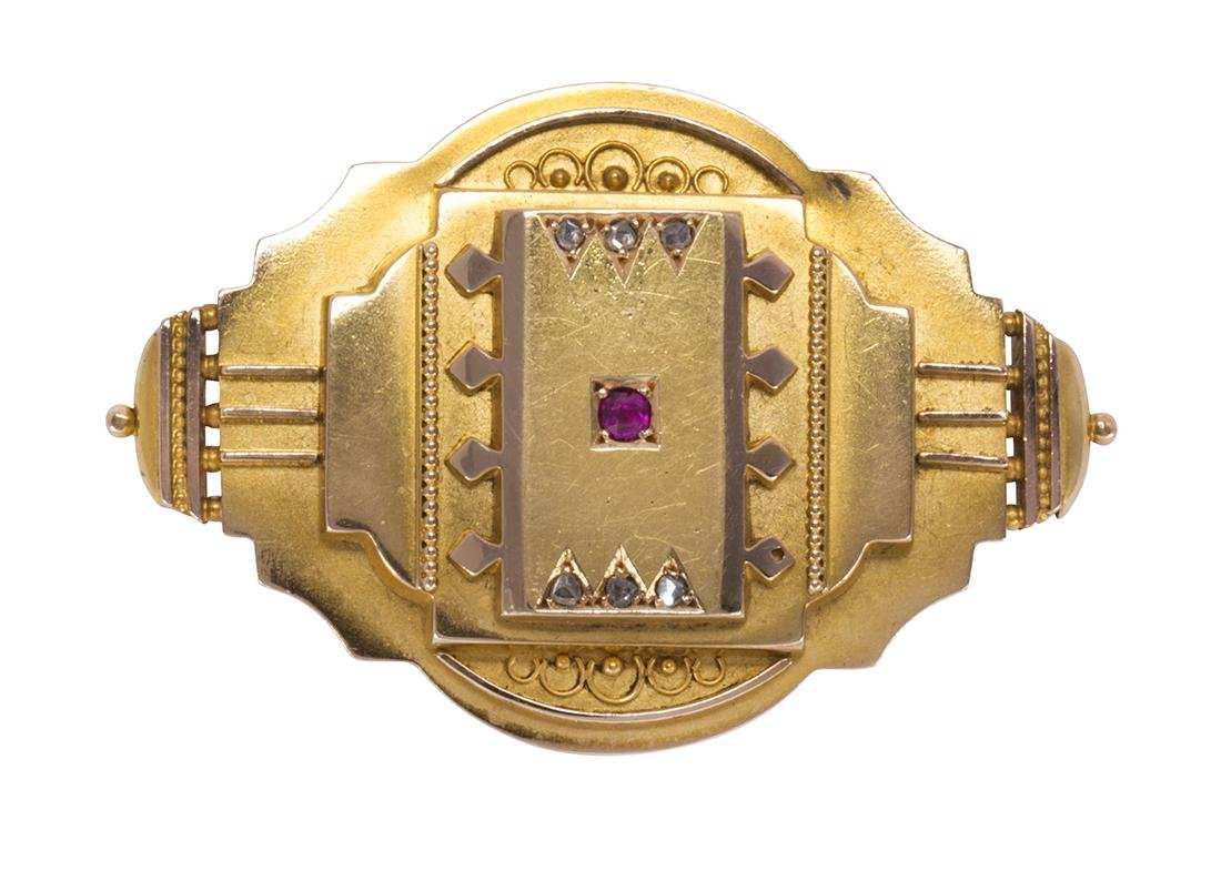 Victorian architectural revival ruby, diamond and 14k