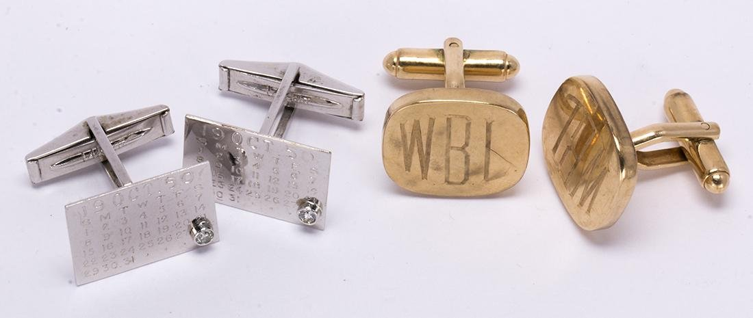 (Lot of 2) Diamond and gold cufflinks