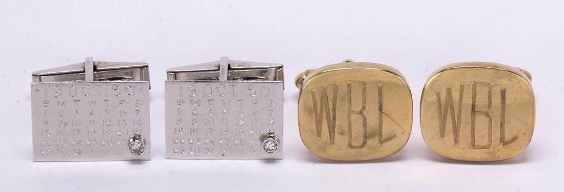 (Lot of 2) Diamond and gold cufflinks - 2