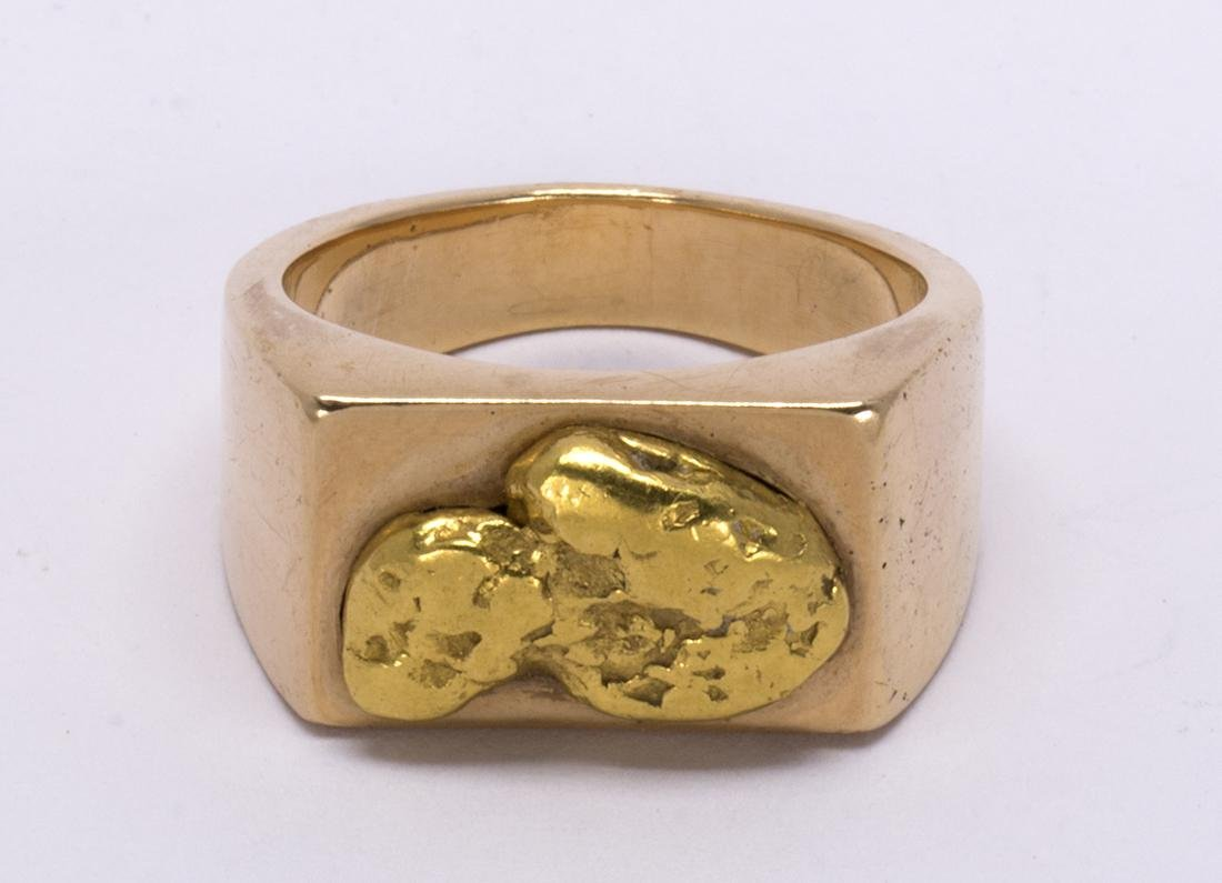 Natural nugget and 14k yellow gold ring