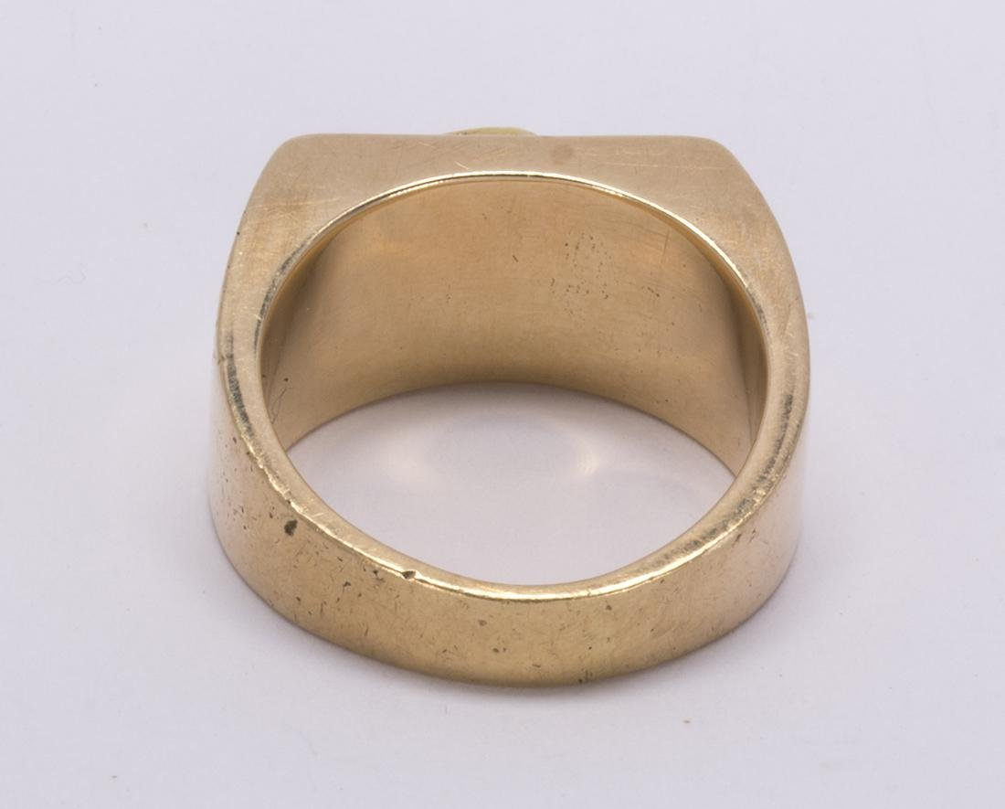 Natural nugget and 14k yellow gold ring - 3
