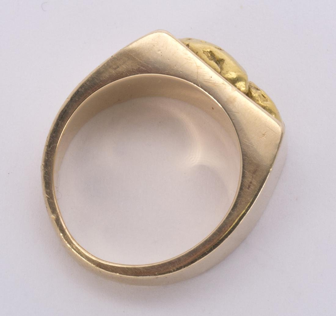 Natural nugget and 14k yellow gold ring - 4