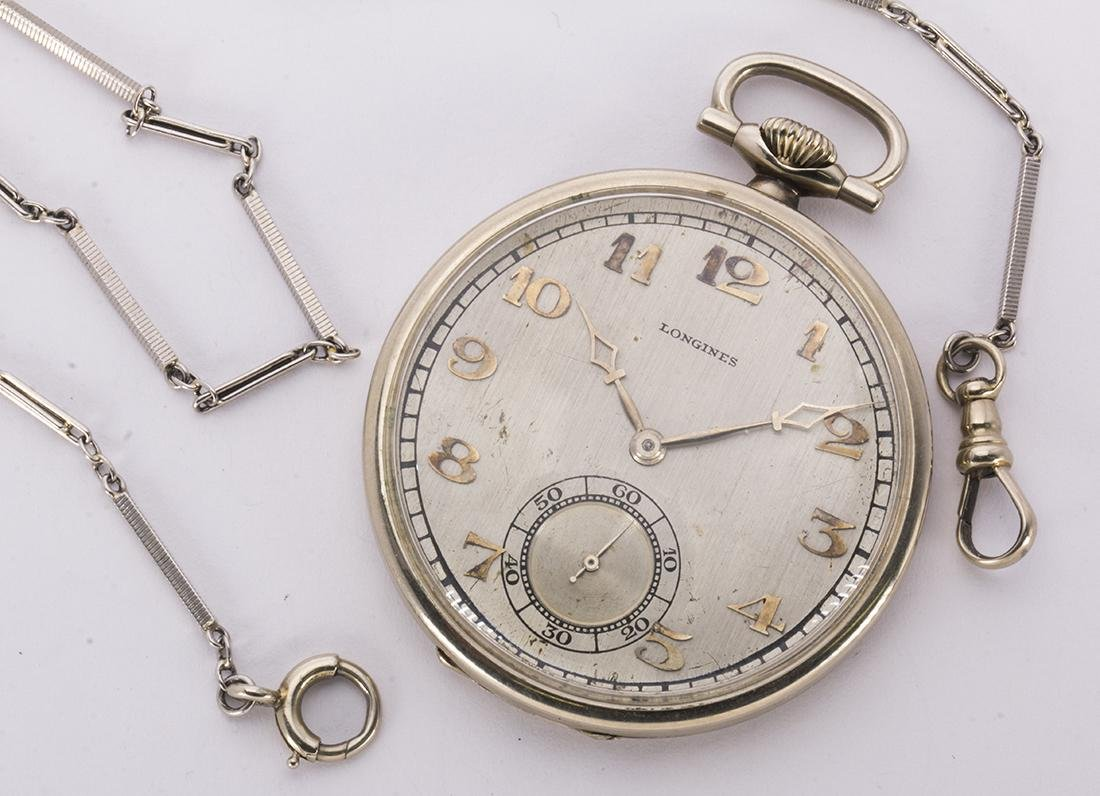 Longines 14k white gold, open face pocket watch with