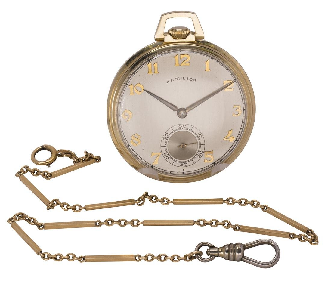 Hamilton 14k yellow gold, open face pocket watch with