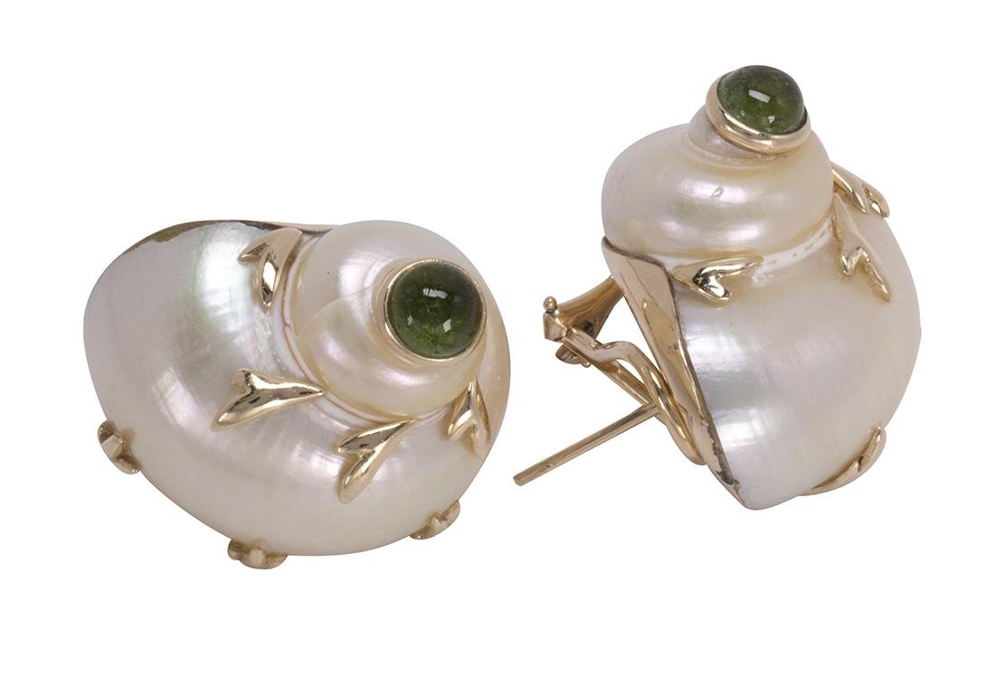 Pair of Sea Snail peridot and 14k yellow gold earrings