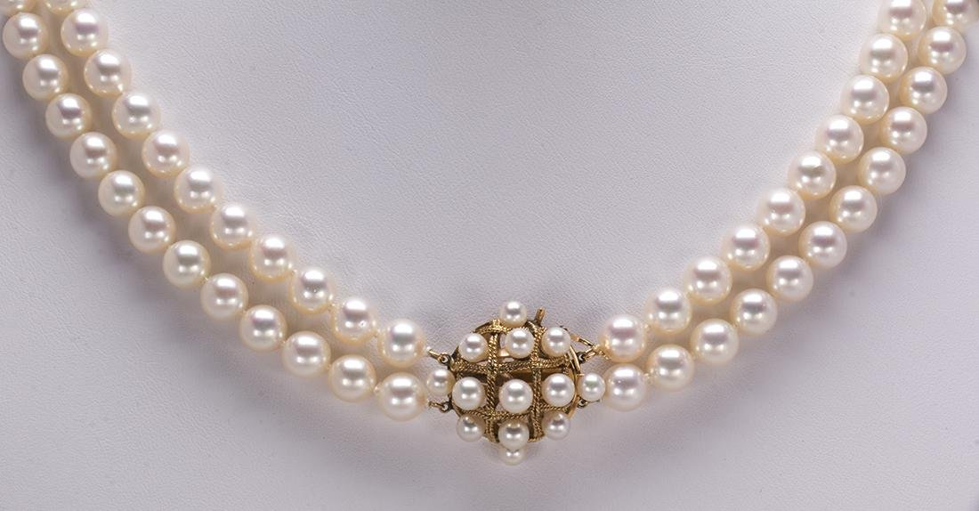 Cultured pearl and 14k yellow gold necklace
