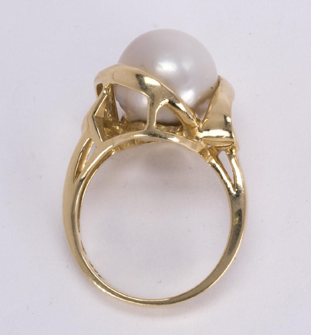 Cultured pearl and 14k yellow gold ring - 3